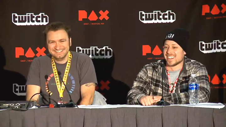 Dave Giltanan (left) and me on a panel at PAX East
